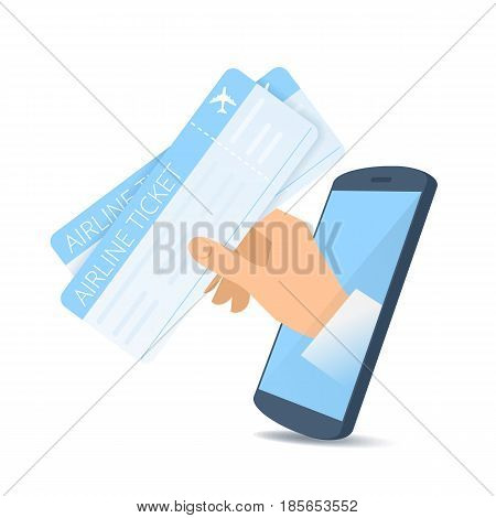A human hand through the mobile phone's screen holds an airline tickets. Modern technology smart phone apps online order flat concept illustration. Vector design element isolated on white background