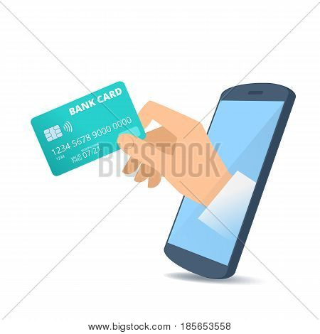 A human hand through the mobile phone's screen holds a bank card. Technology smart phone apps online banking and payment flat concept illustration. Vector design element isolated on white background