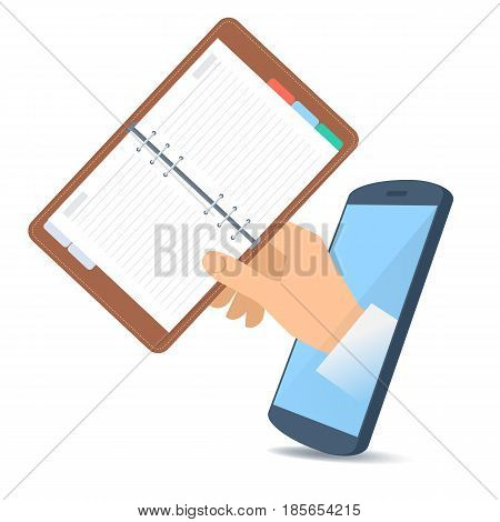 A human hand through the mobile phone's screen holds a schedule planner. Technology time management and smart phone apps flat concept illustration. Vector design element isolated on white background.