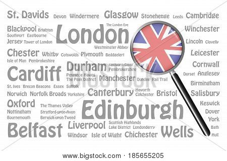 The magnifying glass with the UK flag is on the right side of the vector. The background consists of the gray names of the best travel destinations cities natural monuments and landmarks of Great Britain.