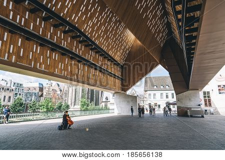 Ghent Belgium - July 31 2016: The Stadshal is a large stand-alone canopy in the inner city of Ghent Belgium. The construction was part of the city project to redevelop the squares and public spaces in historic city center.