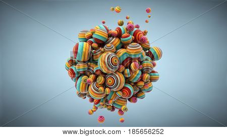 Abstract background with balls 3D rendering stretched pixels texture