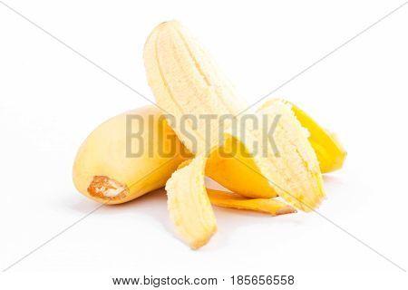 peeled egg banana and  ripe Golden bananas  on white background healthy Pisang Mas Banana fruit food isolated