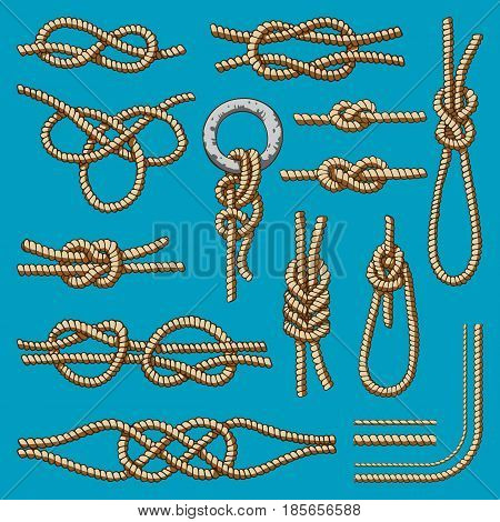 Different sea boat knots scheme vector set illustration isolated on background. Sea boat shipping natural tackle sign vessel. Yacht white navy cable lashing bend net string design.