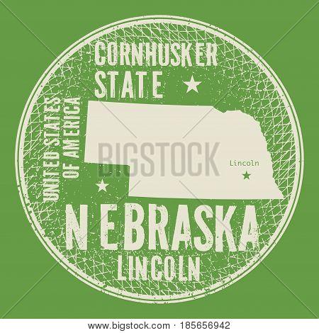 Grunge vintage round stamp or label with text Lincoln Nebraska Cornhusker state vector illustration