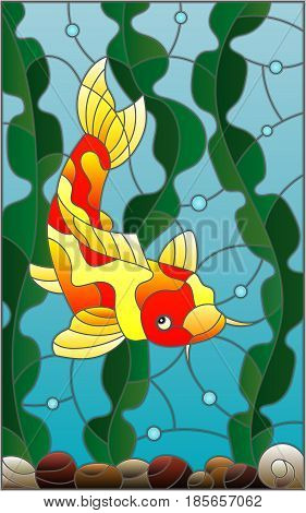 Illustration in stained glass style with a fish carp on the background of water and algae