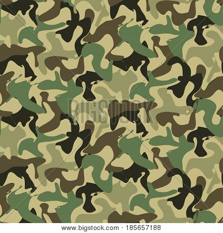 Abstract Military Camouflage Background. Seamless Camo Pattern for Army Clothing.