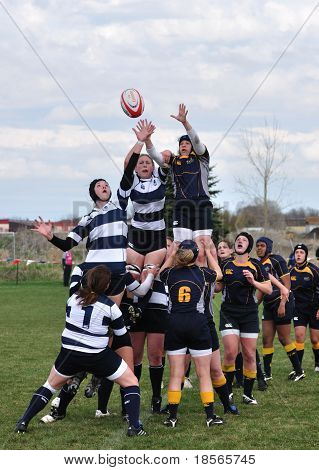 A Lineout In A Women's College Rugby Match