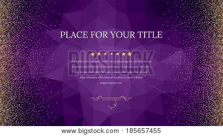 Backdrop from triangles with golden, shiny, glitter dust. Abstract metallic pattern. Horizontal picture frame. Template for advertisement, VIP or luxury card, selling banner, cover and other design.