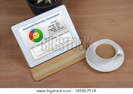Summary report of household energy consumption show on tablet computer.