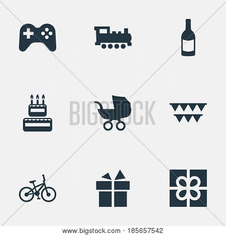 Vector Illustration Set Of Simple Holiday Icons. Elements Bicycle, Beverage, Ribbon And Other Synonyms Fizz, Box And Beverage.