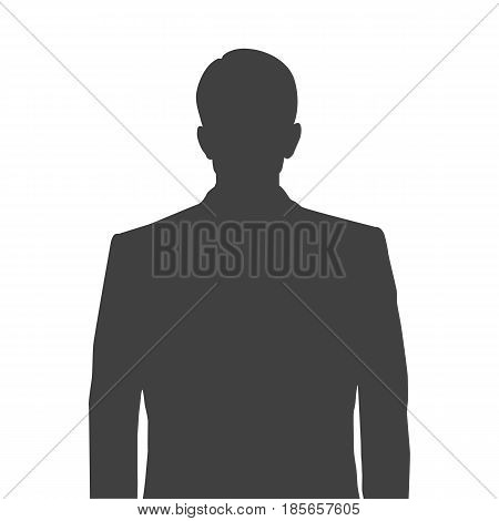 Accurate silhouette of a man for profile picture. Grey silhouette of a man waist-deep with a neat hairstyle on white background.