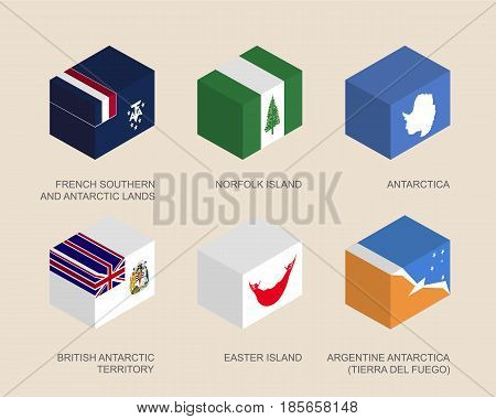 Isometric 3d boxes with flags of countries and territories. Containers with standards - Easter Island, Norfolk Island, French Antarctic Lands, British Antarctic, Tierra del Fuego. Design elements.