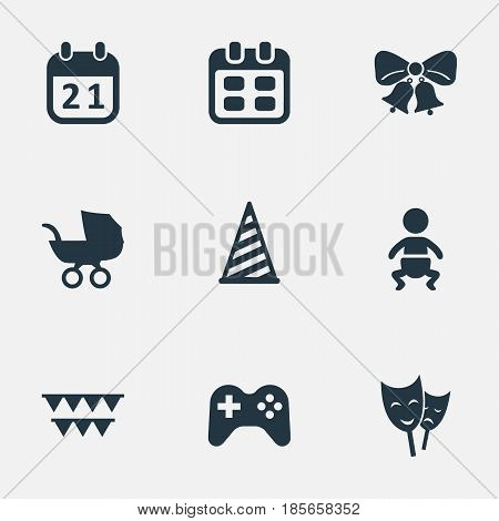 Vector Illustration Set Of Simple Holiday Icons. Elements Baby Carriage, Special Day, Cap And Other Synonyms Carriage, Cap And Game.