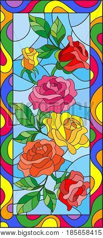 Illustration in stained glass style with flowers and leaves of rose in a bright framevertical orientation