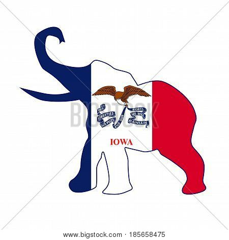 The Iowa Republican elephant flag over a white background
