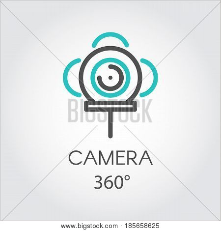 Color turquoise and dark grey flat icon style line art. Outline symbol with stylized image 3D technology camera 360. Stroke vector logo VR Visibility three hundred and sixty degrees linear pictogram.