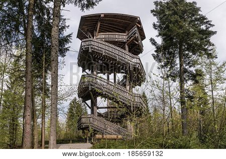 Viewing wooden tower for animal watching Bavaria Germany.. Terrace for watching animals in the woods. Wooden bridge with a roof in the forest.