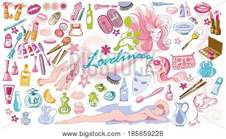 Colored doodle beauty fashion elements set with cosmetic spa makeup accessories tools and products isolated vector illustration