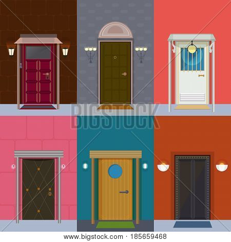 Colorful detailed entry doors collection with light and lanterns in flat style isolated vector illustration