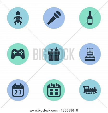 Vector Illustration Set Of Simple Holiday Icons. Elements Confectionery, Infant, Beverage And Other Synonyms Calendar, Sweetmeat And Voice.