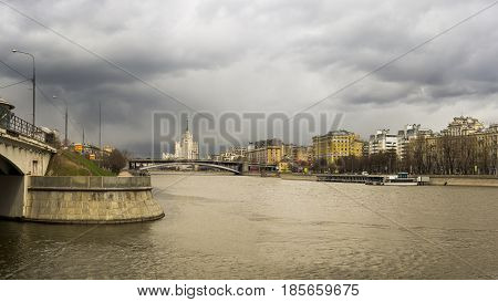 Moscow, Russia - April 12, 2017: View of the Moscow River in cloudy weather on Moscow's Shlyuzovaya Embankment