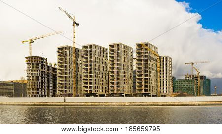 Moscow, Russia - April 12, 2017: The residential complex of art class under construction in Danilovsky district of Moscow