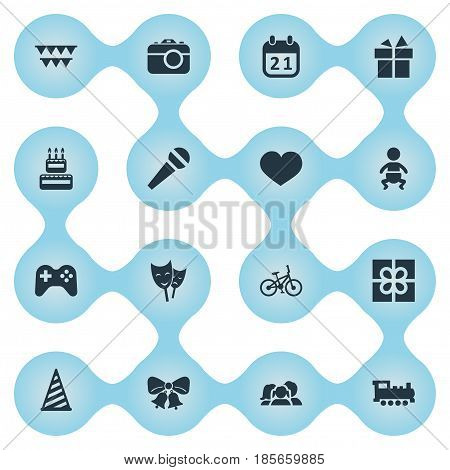 Vector Illustration Set Of Simple Celebration Icons. Elements Bicycle, Train, Soul And Other Synonyms Actor, Joystick And Soul.