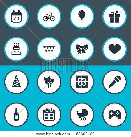 Vector Illustration Set Of Simple Celebration Icons. Elements Mask, Box, Soul And Other Synonyms Mask, Jingle And Heart.