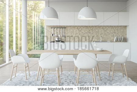 Modern white dining room 3D rendering image.There are dining room has a kitchen in the back with a focus at dining table. There are large glass window overlooking the surrounding nature and forest