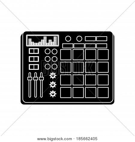 dj turntable icon over white background. vector illustration
