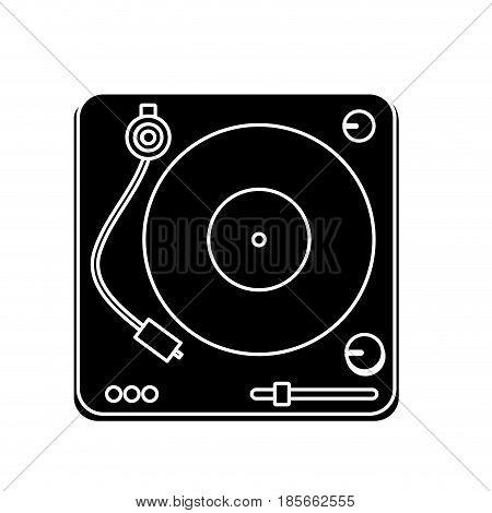dj vinyl turntable icon over white background. vector illustration
