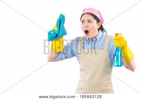 Female Spring Cleaning Woman Shocked