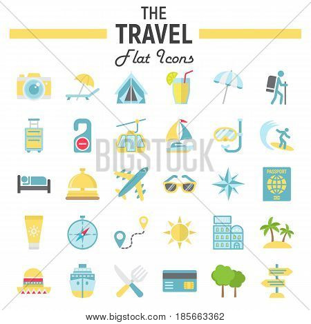 Travel flat icon set, tourism symbols collection, transportation vector sketches, logo illustrations, colorful pictograms package isolated on white background, eps 10.