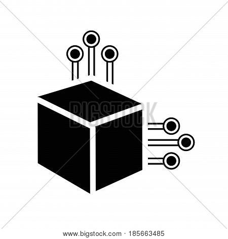 contour cube with circuits network of communicatig bitcoin transactions, vector illustration