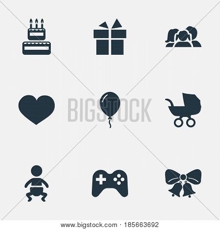 Vector Illustration Set Of Simple Celebration Icons. Elements Game, Confectionery, Baby Carriage And Other Synonyms Joystick, Gift And Resonate.