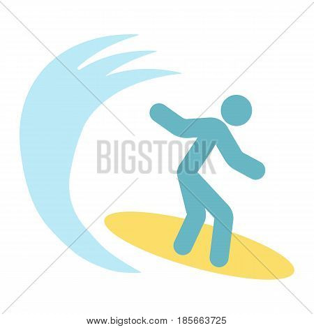 Surfer flat icon, travel and tourism, surfing vector graphics, a colorful solid pattern on a white background, eps 10.