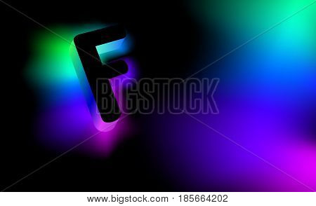Abstract letter F. Creative glow pattern 3D logo corporate style of the company or brand name F. Black letter abstract, multicolored, gradient, blurred background. Elements of graphic design
