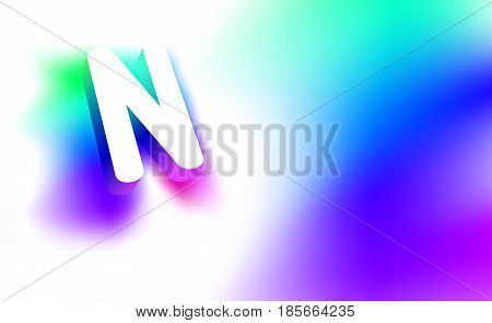 Abstract Letter N. Template of creative glow 3D logo corporate identity of company or brand name letter N. White letter abstract, multicolored, gradient, blurred background. Graphic design elements.