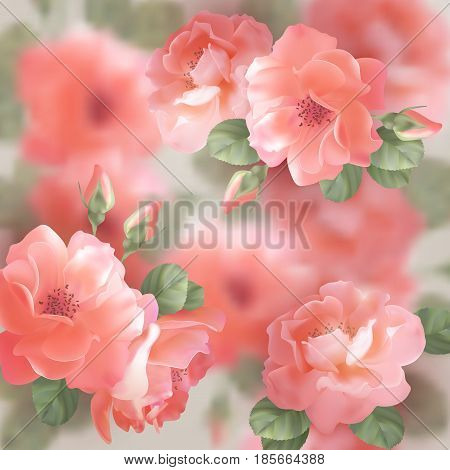 Romantic floral background. Greeting card with blooming flowers