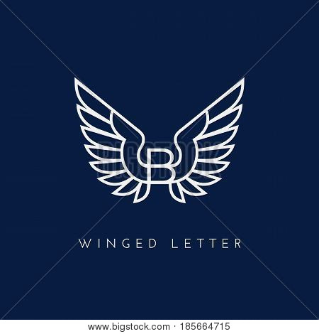 Letter B with wings. Template for logo label emblem sign stamp. Vector illustration.