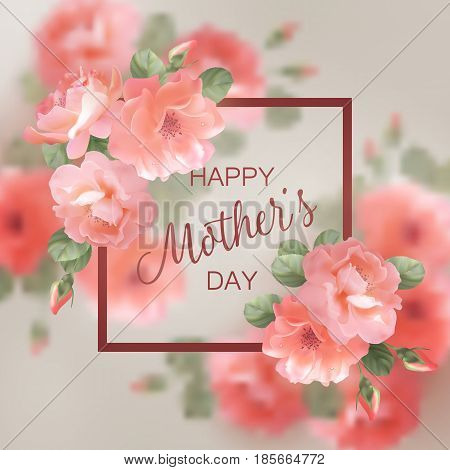 Mothers Day greeting card with blooming flowers