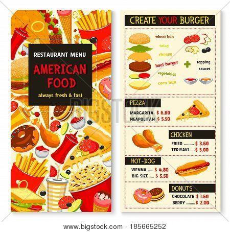 Fast food menu. Vector design for fastfood restaurant. Price for hamburger and french fries combo meal, cheeseburgers and pizza, soda or coffee drinks and ice cream dessert, hot dog and chicken wings