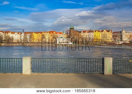 Prague Czech Republic - March 3 2017: Vltava River and prague architecture from Smichov district (Prague 5) at sunset. Czech Republic.