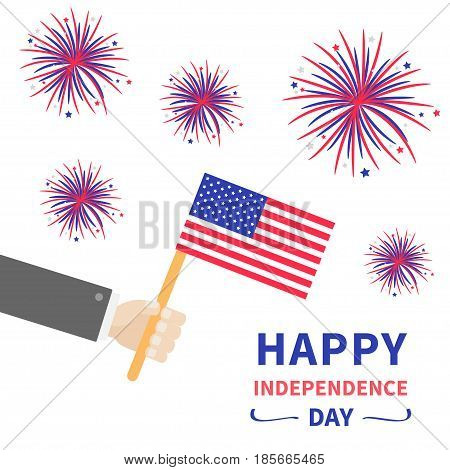 Businessman hand holding american flag. Star and strip. Firework set. Happy Independence day 4th of july Flat design. White background. Vector illustration