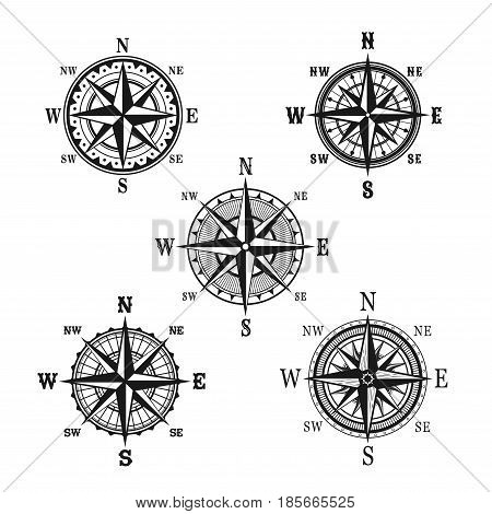 Navigation marine compass or Wind Rose vector icons. Isolated symbols set of nautical retro navigator compass with winds names of East, West, North and South arrows for ship travel design