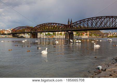 Prague Czech Republic - April 23 2017: Old iron railway bridge in PragueCzech Republic. The original bridge over the Vltava river built between 1871 - 1872