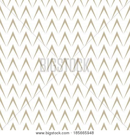 Gold Geometric Herringbone on White Background Seamless Pattern for Fabric and Wrapping Paper Vector Illustration