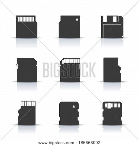Gray memory card icons with mirror reflection isolated on white background. Elements for design of digital devices and information carriers vector illustration.