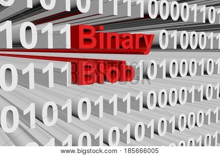 Binary blob in a binary code 3D illustration
